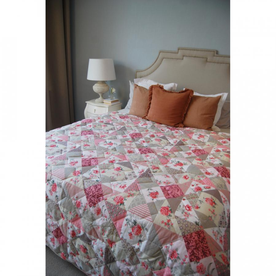 """Одеяло-покрывало,  двухстороннее """"Мозайка розовая"""" бязь"""
