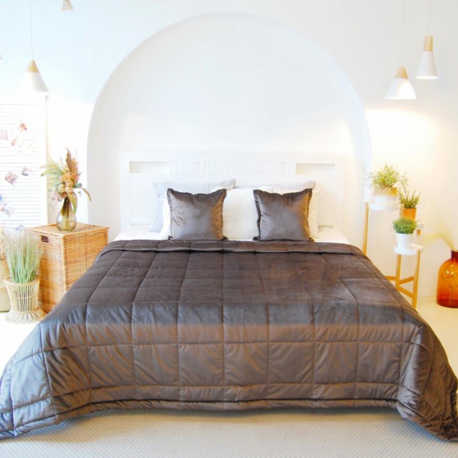Покрывало на кровать, стежка Квадрат20, бархат-велюр, в комплекте с 2-мя подушками