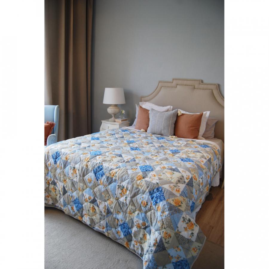 """Одеяло-покрывало,  двухстороннее """"Мозайка голубая"""" бязь"""